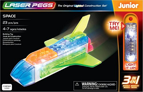 Laser Pegs Space 3-In-1 Building Set Building Kit; The First Lighted Construction Toy to Ignite Your Childs Creativity; Its Your Imagination, Light It Up