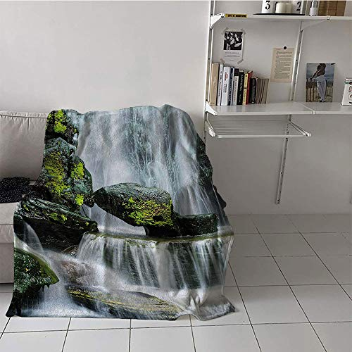 alilihome Children's Blanket Lightweight Lightweight E x tra Big (30 by 50 Inch,Waterfall,Majestic Waterfall Blocked with Massive Rocks with Moss on Them Photo,Green Black and White