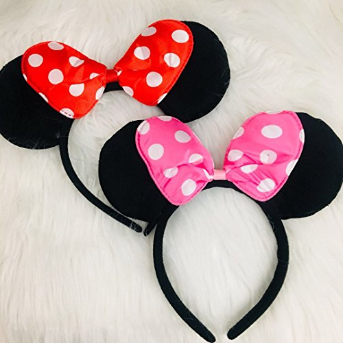 CLGIFT Minnie Mouse Ears Headband Children Birthday Party Supplies Girls Mom Baby Hair Accessories Party Decoration Gift Baby Shower Valentine's Day Halloween Christmas Set of 2 ()