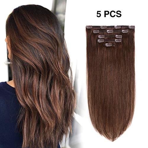 5 Pieces 16″ Remy Clip in Hair Extensions Human Hair Medium Brown – Beauty Silky Straight Short Thick Real Hair Extensions for Women Fashion (16 inches, #4, 80grams)