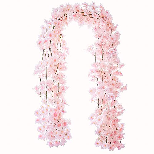 YXMYH 4pcs Artificial Cherry Blossom Flower Vines Hanging