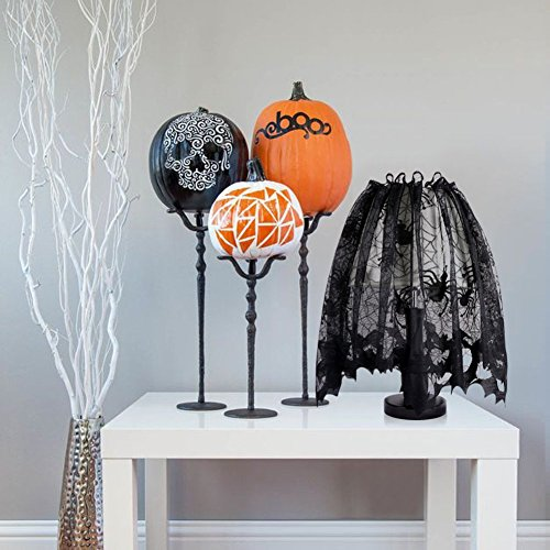 Vellhater Lace Lamp Shades Black Bats Spiders Lampshade for Halloween Party Decorations -