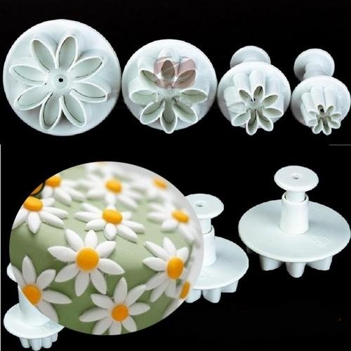 Special Low 4pcs/set Daisy Flower Cookie Sunflower Plunger Cutter Sugarcraft Fondant Cake Tool