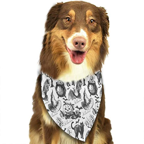 HJudge Dog Bandana Halloween Witch Hat Cauldron Fall Jack Lantern Black Dog Scarf Great Cat Accessories -