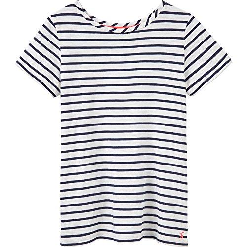 Joules Women's Nessa Jersey T-Shirt Cream Navy Stripe 14