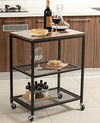 Tayene Bar Serving Cart Home Myra Rustic Mobile Kitchen Serving cart,Industrial Vintage Style Wood Metal Serving Trolley…
