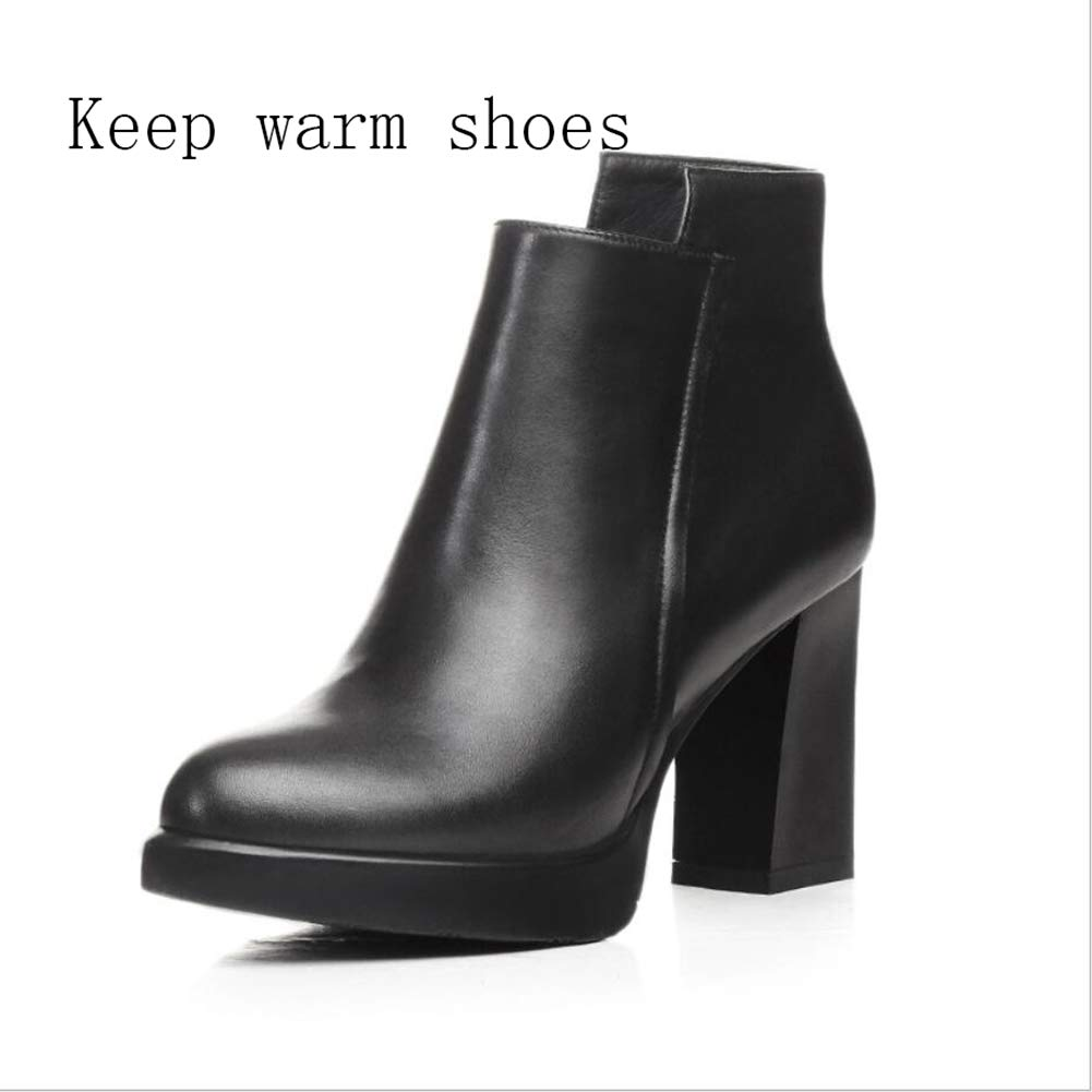 A Women's shoes, Winter Low-barreled Thick Heel Thick Heel Ankle Boots Mid-Calf Boots Formal Boots Martin Boots Party & Evening (color   B, Size   36)