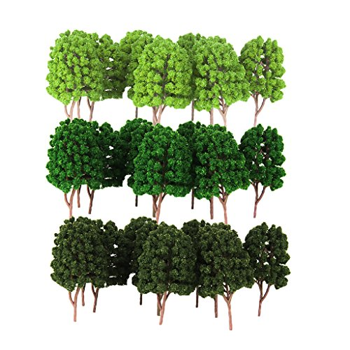 Homyl 30Pcs Plastic Green Model Tree 1/100 HO for Train Railway Landscape Building