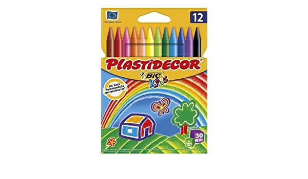 5x Estuches de 12 Ceras Plastidecor BiC Kids para colorear: Amazon.es: Oficina y papelería