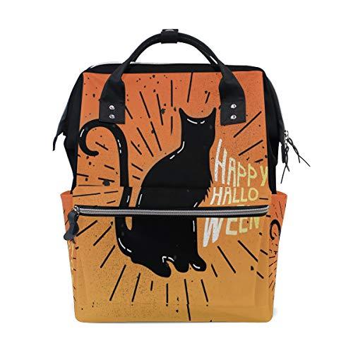 Diaper Bag Mummy Dad Tote Backpack Cat Orange Happy Halloween Travel School Boy Girl Large -