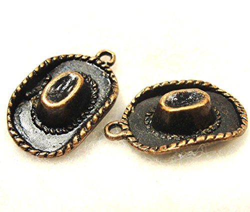 (50Pcs. Wholesale Tibetan Antique Copper Cowboy HAT Western Charm Pendants Q0085 Jewelry Making Supply Pendant Bracelet DIY Crafting by Wholesale Charms)