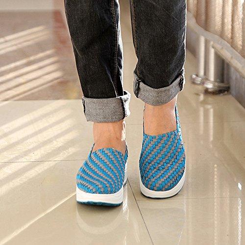 Enllerviid Donna Multicolor Treccia Moda Sneakers Casual Piattaforma Slip-on Tessere Scarpe 808 Cielo Blu