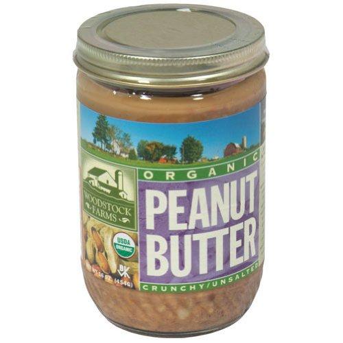 Woodstock Farms Organic Crunchy Peanut Butter - No Salt, 16 Ounce -- 12 per case.