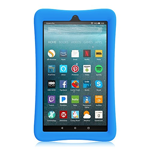 Large Product Image of Fintie Silicone Case for All-New Amazon Fire 7 Tablet (7th Generation, 2017 Release) - [Honey Comb Upgraded Version] [Kids Friendly] Light Weight [Anti Slip] Shock Proof Protective Cover, Blue