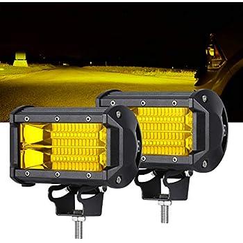 samlight led light bar 2 pcs waterproof 5 inch 72w 24 led flood beam off  road pod lights yellow driving fog work light lamps for trucks offroad jeep  atv utv