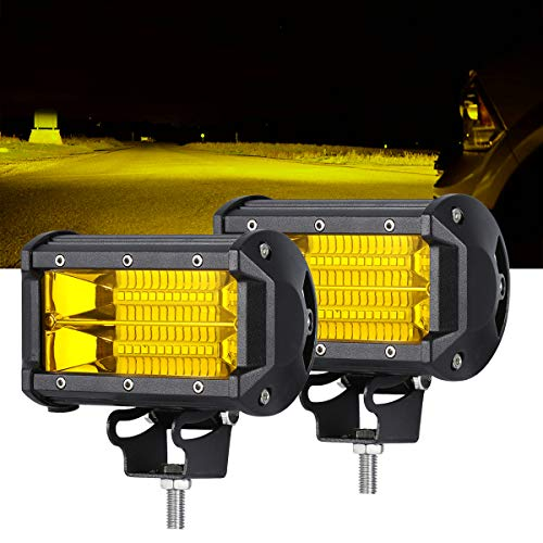 (SAMLIGHT Led Light Bar 2 PCS Waterproof 5 Inch 72W 24 Led Flood Beam Off Road Pod Lights Yellow Driving Fog Work Light Lamps For Trucks Offroad Jeep ATV UTV SUV Boat Marine Motorc)