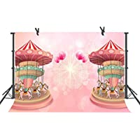 Fuermor Pink Playground Photography Backdrop 7x5ft Birthday Party Background
