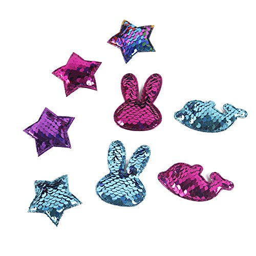 (David accessories Sequins Patch Stars Rabbit Mermaid Flip Up Stickers Reversible Sequin Crafts Accessories DIY Decorations for Clothing Phone 8 PCS (Assorted E))