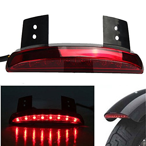 Price comparison product image Motorcycle Lights Smoke Len Rear Fender Edge LED Tail Light For Harley Davidson (Red)
