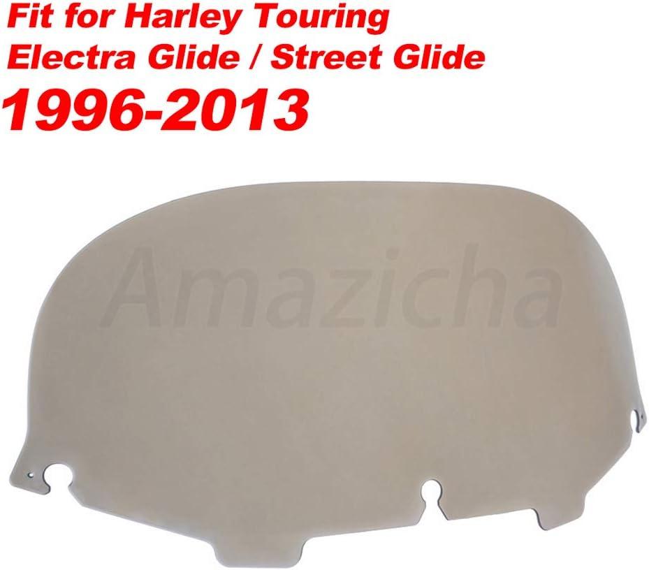 Amazicha 8 Smoke Batwing Windshield Round Windscreen Wind Splitter Compatible for Harley Davidson Touring Street Glide Electra Glide 1996-2013