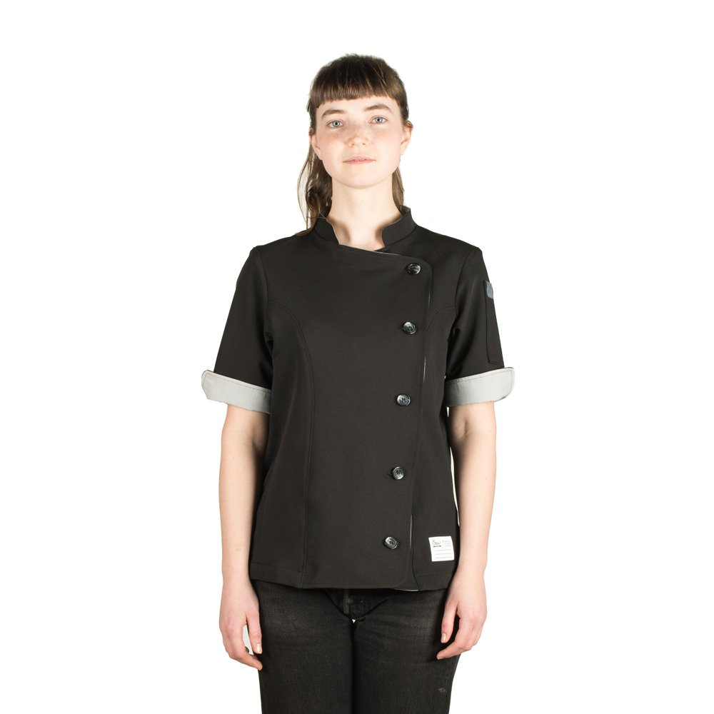 Crew Apparel Women's Chef Coat The Stephany Made In America (L, Black)