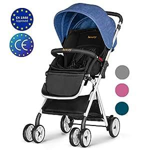Besrey Silla de paseo ligera Cochecito de bebe plegable Carrito para bebes de 6 meses hasta 15 kg, seguridad ECE