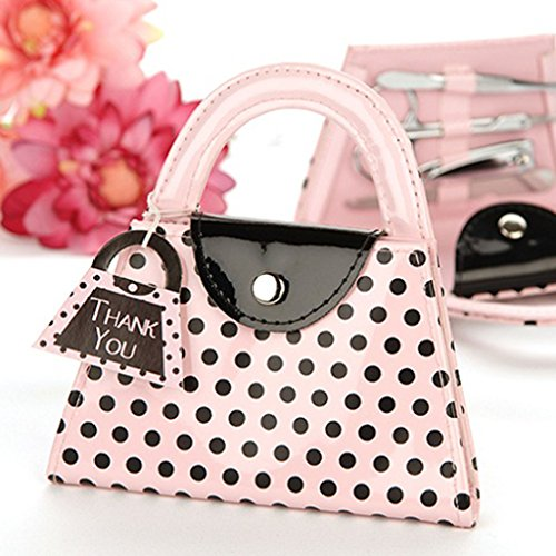 Portable Handbag Style Pink Polka Dots Pattern Nail File Scissors Clipper Tweezer Manicure Set for Lady Bridal Shower Party Wedding Gift