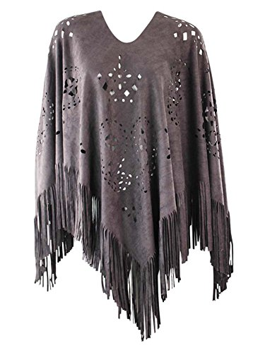 Gray Faux Suede Poncho With (Southwestern Suede)