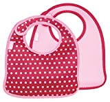 Built 2 PieceMess Mate Infant Bib, In Baby Pink Mini Dots