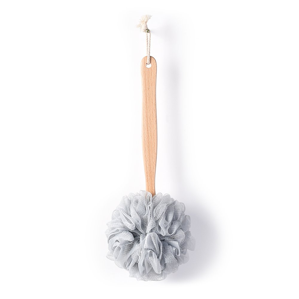 Bath Sponge & Brush Long Handled Loofah Back Scrubber Shower & Bath Exfoliating Pouf Scrubber on a Stick Body Back Brush with a Wood Handle Loofah Mesh for Men & Women By Krramel (Champagne)