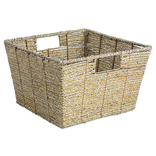 Wicker Office Storage (DII Decorative Woven Seagrass Basket with Metallic for Bathroom & Home Organization Solutions to Enhance Décor & Add Functionality (Basket 12x12x7.5
