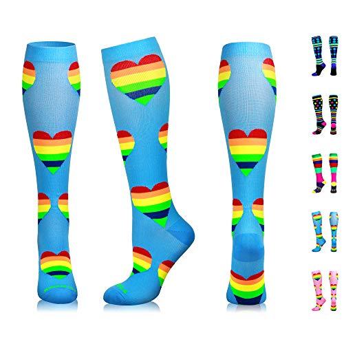 NEWZILL Compression Socks (20-30mmHg) for Men & Women, Best Graduated Athletic Fit for Running, Nurses, Shin Splints, Flight Travel & Pregnancy. Boost Stamina Circulation (Blue Hearts, Medium)