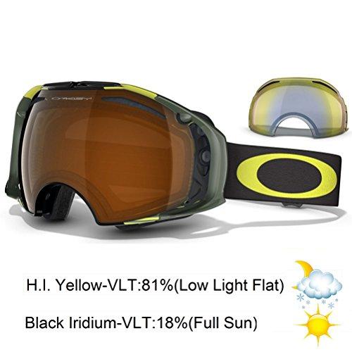 Oakley Airbrake Shaun White Signature Series Snow Goggle, Neon Yellow Block Stripes with Black and HI Yellow ()