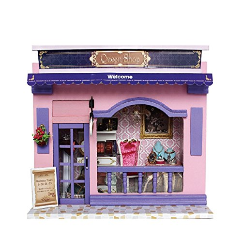 Flever Dollhouse Miniature DIY House Kit Creative Room With Furniture and Cover for Romantic Valentine's Gift(Queen's Shop)
