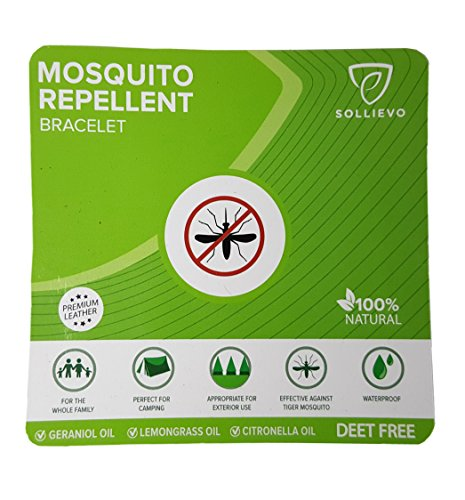 Mosquito Repellent Bracelets (3 pack - 6 bracelets), 100% Natural Plant-Based Oil, Non-Toxic Pest & Insect Repellent. Made For Adult and Children - Soft Leather Fabric - BROWN