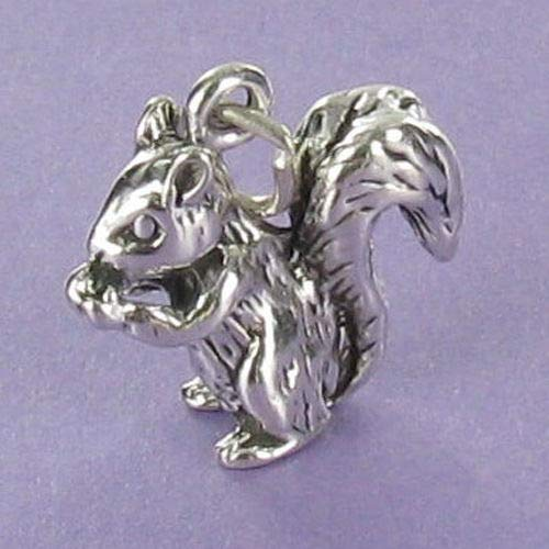 Sterling Silver Washer - Squirrel Charm Sterling Silver for Bracelet Bushy Tail 3D Acorn Flying Rodent - Jewelry Accessories Key Chain Bracelets Crafting Bracelet Necklace Pendants