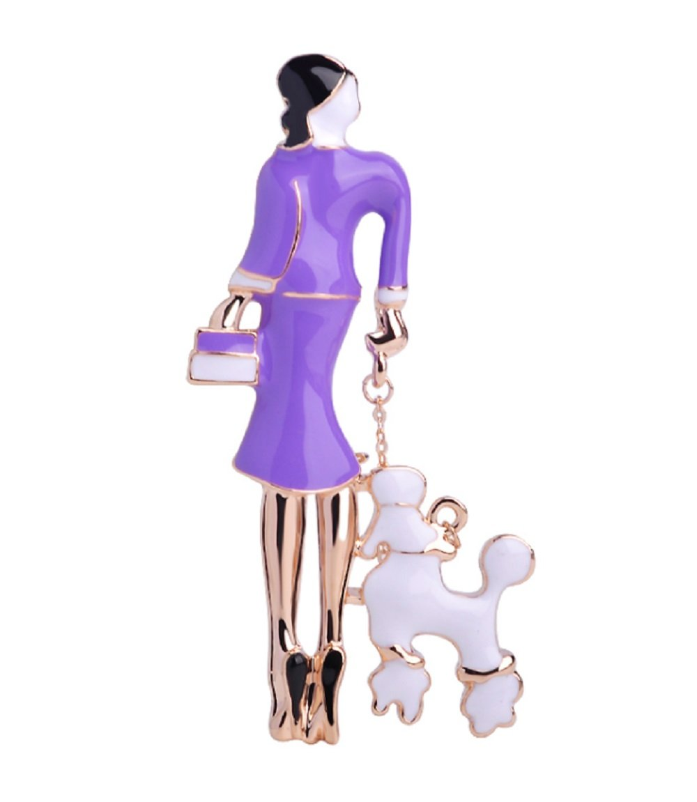 Woman in Purple Enamel Dress Walking a POODLE Brooch..Unique Superior Quality Gift for a POODLE Mom