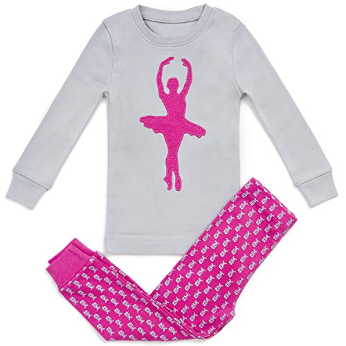 Girls Pajamas Bluenido Ballerina 2 Piece 100% Super Soft Cotton,Pink / Grey,6 - Pajamas Ballerina