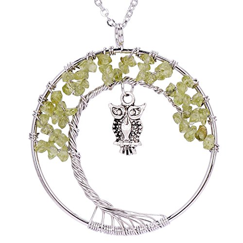 QILMILY Celtic Tree of Life Necklace Wire Wrapped Owl Necklace Family Tree Olive Birthstone Necklace for Women ()
