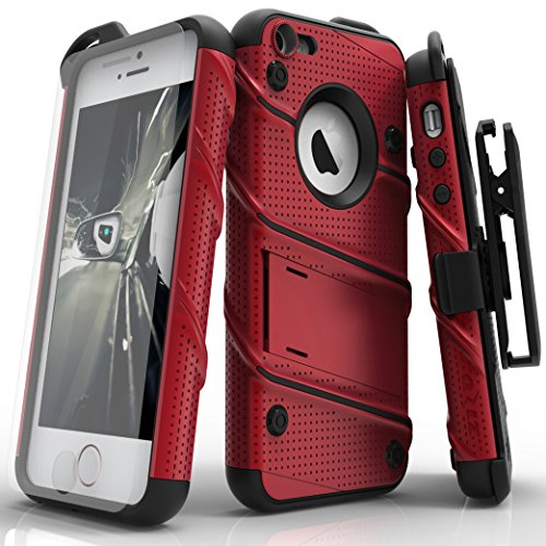 iPhone SE Case, Zizo [Bolt Series] w/ [iPhone SE Screen Protector] Kickstand [12 ft. Military Grade Drop Tested] Holster Belt Clip - iPhone 5s