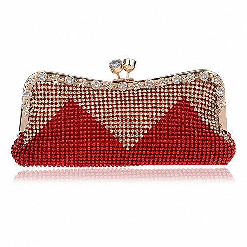 Afibi Women Handbags Rhinestone Evening Bags Crystal Party Clutches Bag (Red) ()