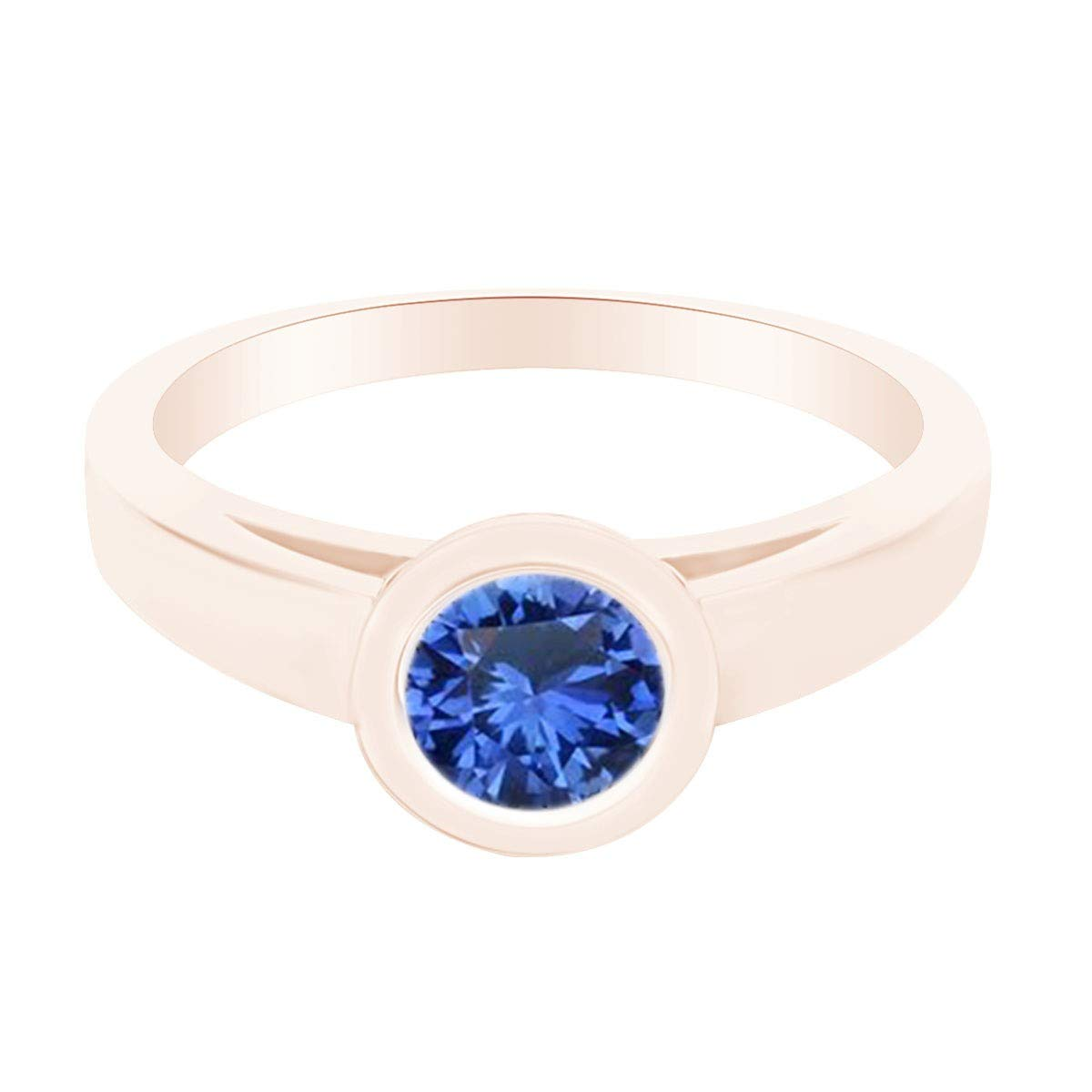 AFFY Simulated Blue Sapphire Bezel Set Solitaire Engagement Ring 14k Gold Over Sterling Silver