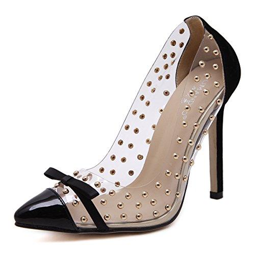 alto de tacón único zapato alto de punta Orange solo zapatos transparencias luz de remache ZHZNVX Pajarita de tacón qtROtpgx