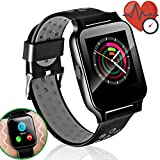 Smart Watch Men Women Fitness Tracker with Blood Pressure Heart Rate Monitor 1.54' IPS Full Touch Sport Bracelet Pedometer Bluetooth Phone Call SMS Camera Music for Android iOS Phones Christmas Gift
