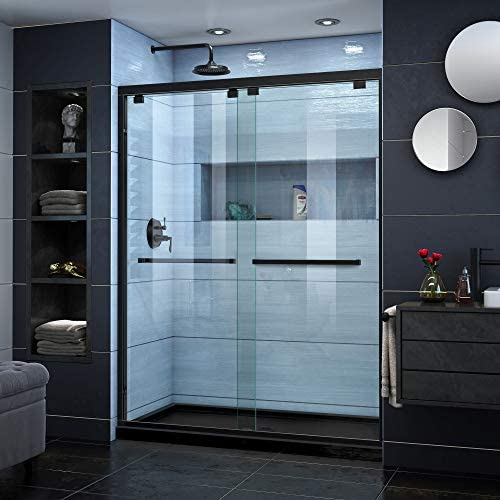 DreamLine Encore 36 in. D x 60 in. W x 78 3 4 in. H Bypass Shower Door in Satin Black and Center Drain Black Base Kit, DL-7007C-88-09