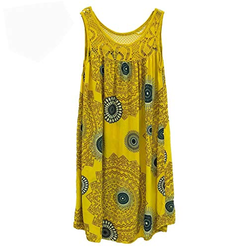 ★QueenBB★ Women's Summer Sleeveless Bohemian Print Tunic Swing Loose Pockets Knee Length T-Shirt Dress Yellow