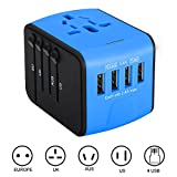 International Travel Adapter, IABOLT Worldwide AC Wall Outlet Plugs for UK/EU/UK/AU with Total 3.4A 4 USB Ports Great Charger for iPhone/Smartphones/Laptops & more -Blue