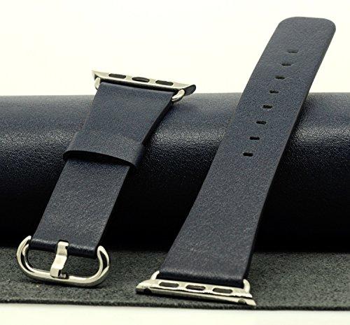 JSGJMY Genuine Leather iWatch Silver