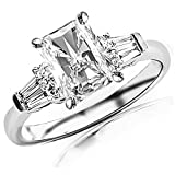 0.65 Cttw 14K White Gold Radiant Cut Prong Set Round And Baguette Diamond Engagement Ring with a 0.3 Carat H-I Color SI2-I1 Clarity Center