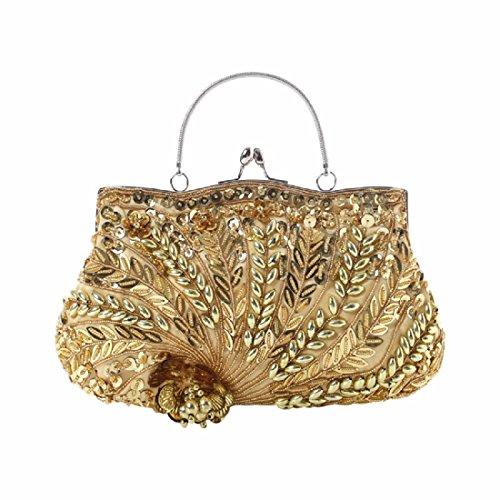 bolso novia clasico vestido noche Señoras Golden bolsa bolsa de De gules noche de bordada bolso bolso XJTNLB vxwBI0nn